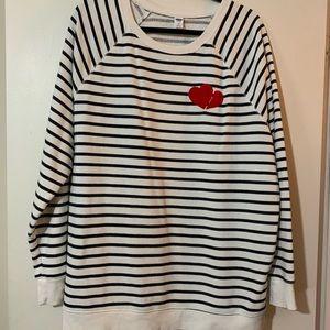 Old Navy black and cream striped sweatshirt